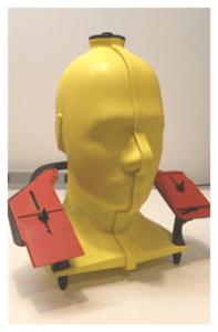 Model testovací figuríny pro meření elektromagnetického záření na mobilní telefonu