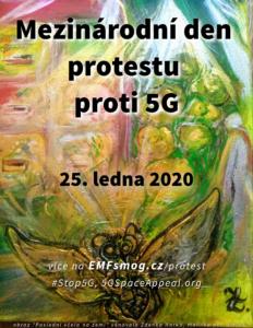Mezinárodní den protestu proti technologii 5G s obrazem Poslední včela